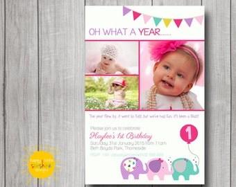 Girl Birthday Invitation Personalised Printable Any Age 1st Birthday Elephant Party