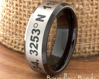Coordinates Ring Tungsten Customized Beveled Two Tone Laser Engraved Ring Unique New Modern Fashion Coordinates Ring Band Latitude Longitude