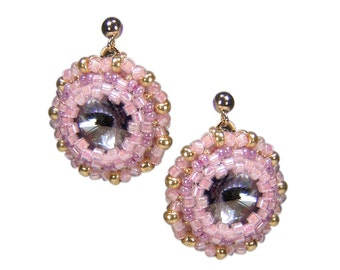 Stud Earrings with beads. Soft pink