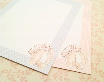 Bunny Cards-Rabbit Note Card Stationery Flat Cards Thank You Notes-Set of 10