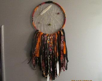 Bohemian Handmade Dream Catcher Red, Orange, Yellow, Black, feather, dreamcatcher