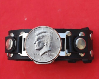 US 1971 ~ 2014 Kennedy Half Dollar Coin Studded Leather Bracelet NEW Old Stock