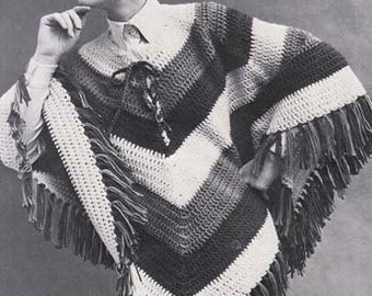 Crochet Poncho Vintage Hippie Crochet Pattern Instant Download PDF