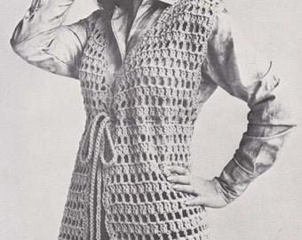Crochet Sweater Tunic Vest Vintage Crochet Pattern Size Small Medium Large Instant Download