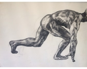 charcoal runner figure drawing