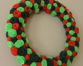Christmas Rosette Flower Wreath