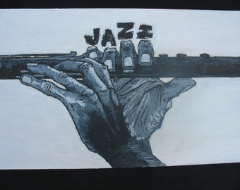 "Jazz (print on canvas)  9"" x 12"" x 1.5"""
