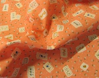 New Season Poly Cotton Orange Floral Polycotton Fabric Dress/Craft Fabric
