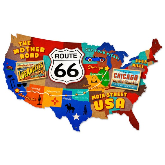 USA United States Route Map X Inches Metal Sign - Route 66 map usa