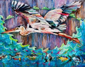 Heron. Limited edition giclee print, 8x10, 11x14.