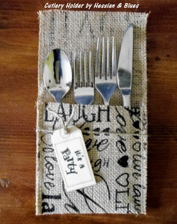 Set of 6 Stamped Natural Burlap Cutlery Holders