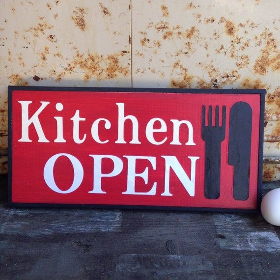 Kitchen Open Handmade Sign With Chalkboard Black Trim