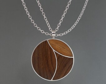 Silver Pendant with Rosewood Inlay and Trace Chain
