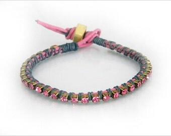 Riviera bracelet - Pink and grey
