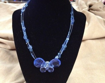 Vintage Blue Beaded Butterfly Necklace, Length 17''