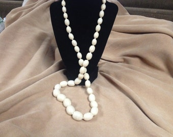 Vintage White Acrylic Beaded Necklace, Length 34''
