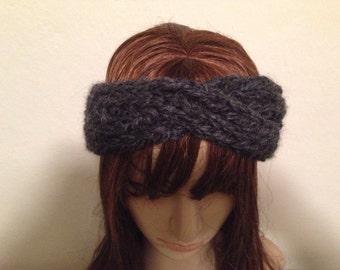 Charcoal Grey Twisted headband Ear Warmer