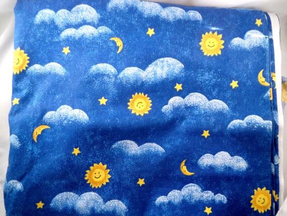 Royal blue cotton fabric moon stars sun clouds 3 yard for Sun and moon fleece fabric