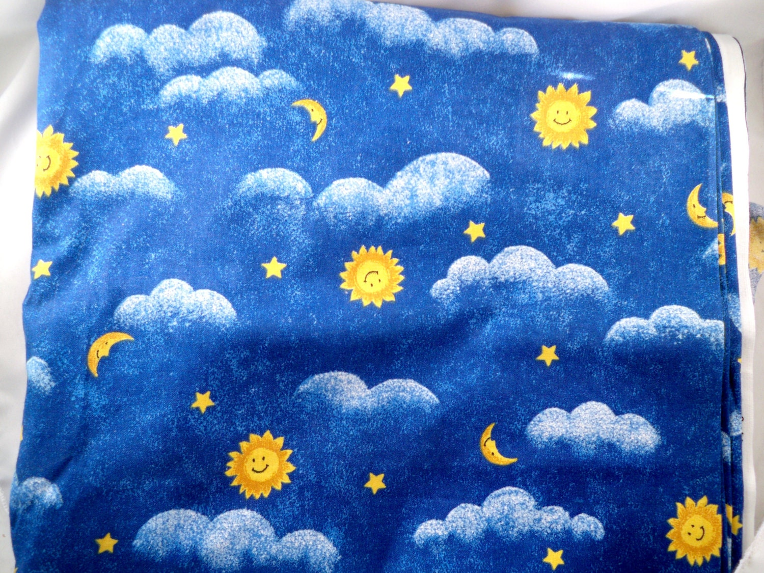 Royal blue cotton fabric moon stars sun clouds 3 yard for Sun moon fabric