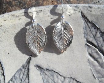 Fine Silver Leaf Drop Earrings