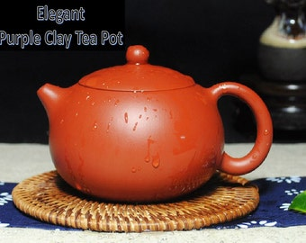 Elegant purple clay tea pot with 118 holes inside for smooth water out + 4 purple clay cups