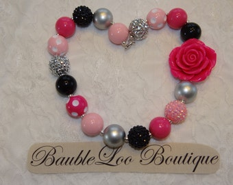 Pink, Silver and Black Bubblegum Necklace