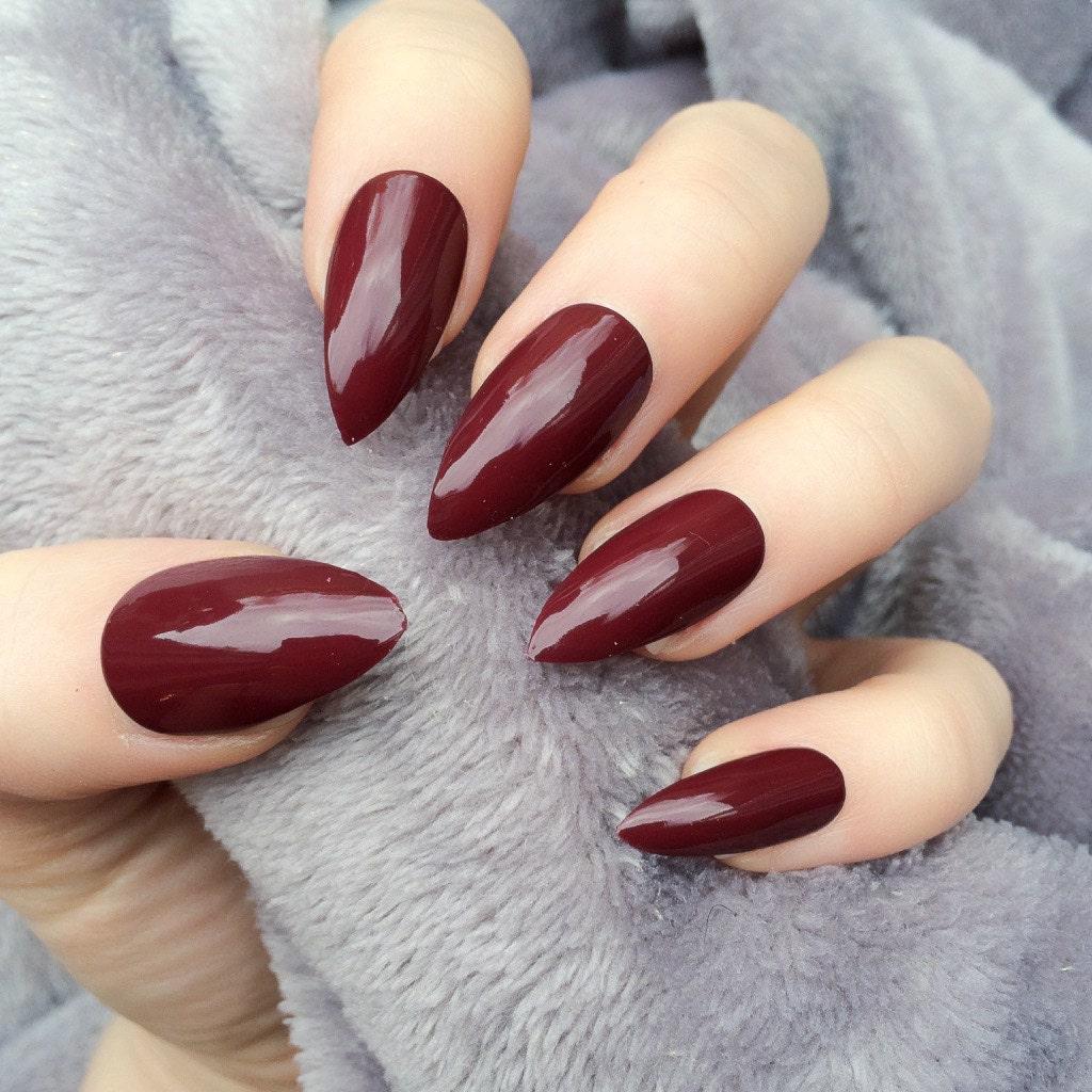 Dark Red Pointy Nails
