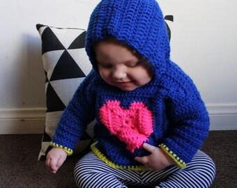 """Pattern """"Sweatheart"""" - Baby Hooded Sweater"""