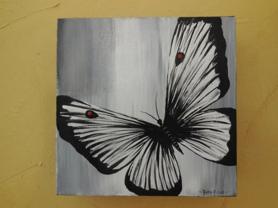 Original Black and White Butterfly Painting on Canvas