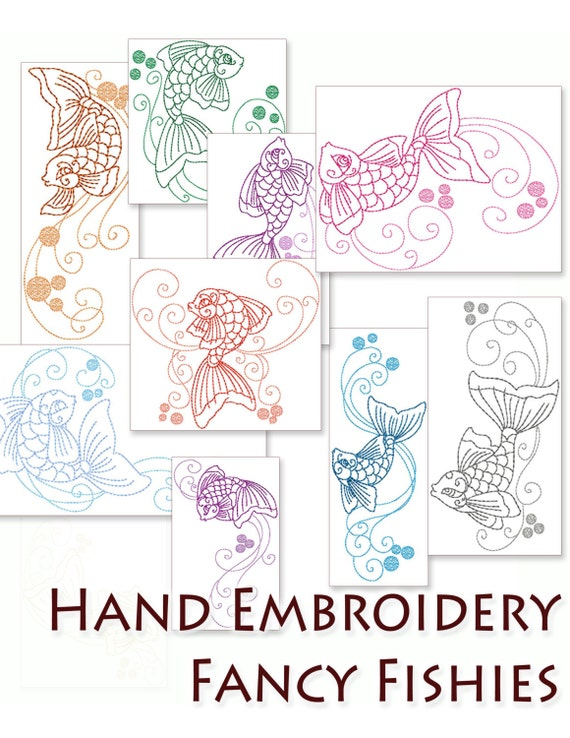 Hand Embroidery Patterns Fancy Fishies In By HandEmbroideryDesign