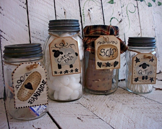 Rustic Bathroom Mason Jar Tags Primitive Bath Decor By CountryTags