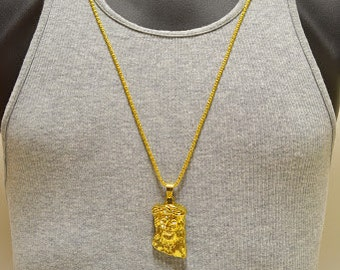 Jesus piece etsy iced out 18k gold layered mini jesus piece pendant neck chain 30 god bless aloadofball Image collections