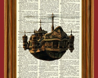 Fyling Steampunk Ship Upcycled Dictionary Art Print Poster