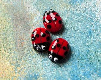 Ladybug, Original Handmade Lampwork Glass Beads Flower