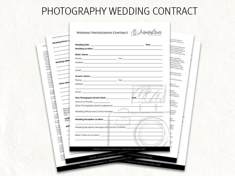Wedding Photography Contract Example: Wedding Contract Wedding Photography Contract Template