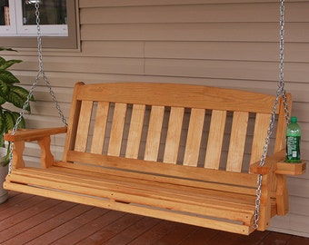 4 Foot Amish Heavy Duty 700 Lb Mission Treated Porch Swing With Cupholders