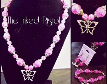 The Pink Butterfly Beaded Necklace
