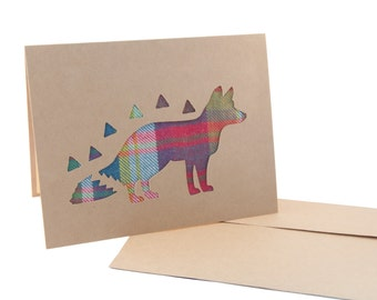 Mr. Foxy Blank Greeting Card made w/fabric - Single/Pack