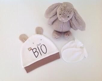 Organic baby hat and mitten set
