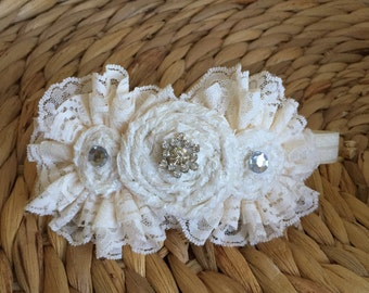 Scarlett Bows- Ivory Lace headband with jewels. Fits size 0-12 months