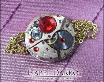 Steampunk clockwork necklace