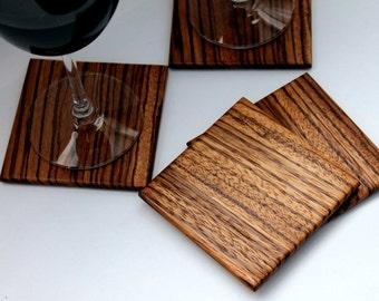 Zebrawood Wood Coasters Set of 4