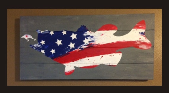 Items similar to largemouth bass w abstract usa american for American flag fish