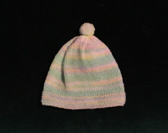 Knit Newborn Baby Hat with Pom Pon Top multi colored