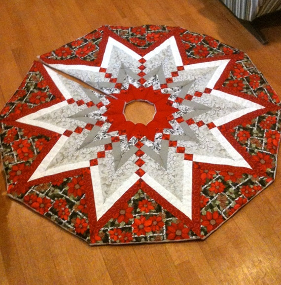 Quilted Christmas Tree Skirt Patterns: Quilted French Braid Christmas Tree Skirt Christmas Tree