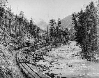 """William Henry Jackson Photo,""""Canyon of the Rio las Animas"""" 1899 train"""
