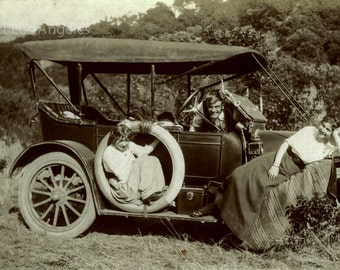 Photo of Trio and a Touring Car, 1915