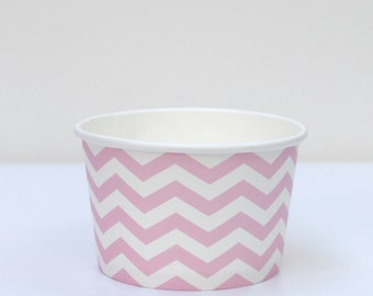 Ice Cream Cups Pink Chevron Pack of 10 Party Decor
