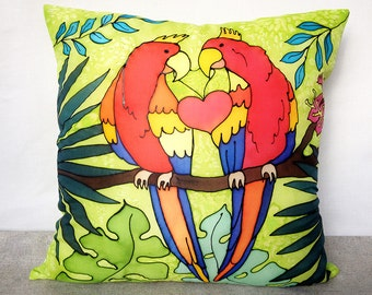 I love you Hand painted silk pillow cover Two parrots throw pillow Love pillow cover Spring celebrations gift Love gift Gift for Her