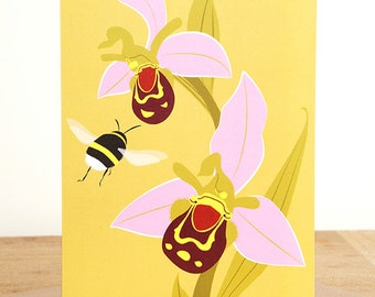 Bee Orchid greetings card